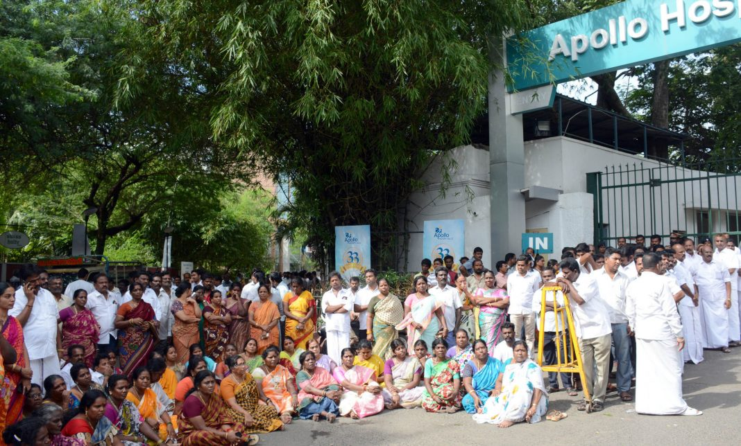 AIADMK ministers, functionaries and cadres in front of the Apollo Hospitals where party chief J Jayalalithaa was admitted/Photo: UNI