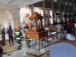People work at a blast scene at St. Anthony's Church in Kochchikade in Colombo, Sri Lanka, April 21, 2019/Photo: Xinhua/UNI