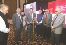 (Lto R) Bhim SIngh, Sr Advocate, Justice BN Srikrishna, Rajshri Rai, Jusitce N V Ramana, Supreme Court, PK Malhotra, Former law Secretary, Inderjit BAdhwar, and Justice Pradeep Nandrajog, CJ, Bombay HC during inaguration At Legal Leadership conoclave in Mumbai. 27 april 2019