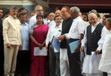 Opposition leaders N Chandrababu Naidu, Arvind Kejriwal, Kanimozhi, Derek O'Brien, Ghulam Nabi Azad and others after meeting the CEC/Photo: UNI