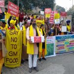 Activists and farmers holding a protest against GM foods in New Delhi in 2016/Photo: seedfreedom.info