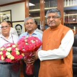 Union Law Minister Ravi Shankar Prasad being greeted by law ministry officials after taking charge