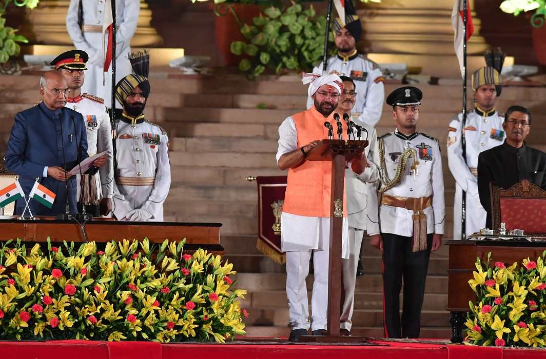 G Kishan Reddy, a Telugu-speaking minister, taking oath in Hindi/Photo: PIB