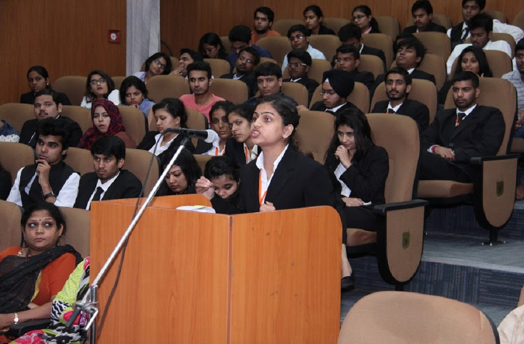 A moot court session at GGSIPU. It had challenged the High Court order in the SC