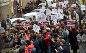 Separatist groups taking out a protest march in Srinagar demanding justice for the Kathua rape and murder victim/Above: UNI
