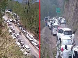 With huge congestion of vehicles, traffic moves slowly on the highway