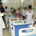 Bihar Chief Minister Nitish Kumar visiting a hospital to reviews the situation prevailing due to Acute Encephalitis Syndrome (AES), in Muzaffarpur on 18 June 2019. Photo by- UNI
