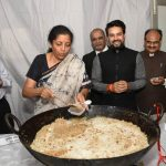 Union Finance Minister Nirmala Sitharaman (left) with Anurag Thakur, Minister of State for Finance & Corporate Affairs during the halwa ceremony ahead of General Budget 2019