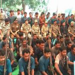 62 Naxalites surrendering before senior police officers in Narayanpur district in Chhattisgarh in November last year/Photo: UNI