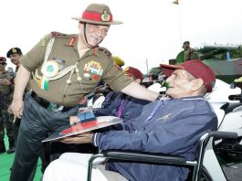 Army Chief General Bipin Rawat greeting a retired disabled person. The Army needs to rectify defects in the disability pension system/Photo: spsnavalforces.com