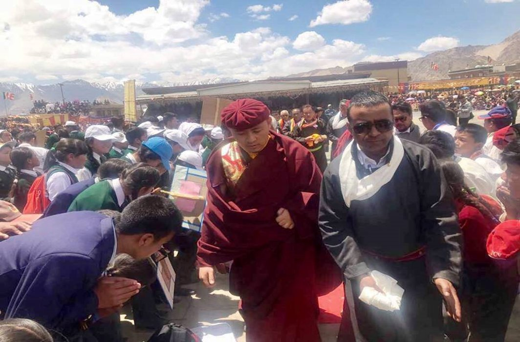 Tsewang Thinles (in black) at an event in Leh; two young girls have levelled sexual harassment allegations against him/Photo: facebook