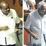Karnataka CM HD Kumaraswamy (left) and state BJP chief BS Yeddyurappa arguing in the Assembly/Photos: UNI