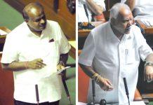 Karnataka CM HD Kumaraswamy (left) and state BJP chief BS Yeddyurappa arguing in the Assembly/Photos: UNI