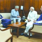 National Conference leaders Omar Abdullah (left), Farooq Abdullah (second from left) and MP Justice (retd.) Hasnain Masoodi meeting Prime Minister Modi in New Delhi on Aug 1/Photo: PMO/Twitter