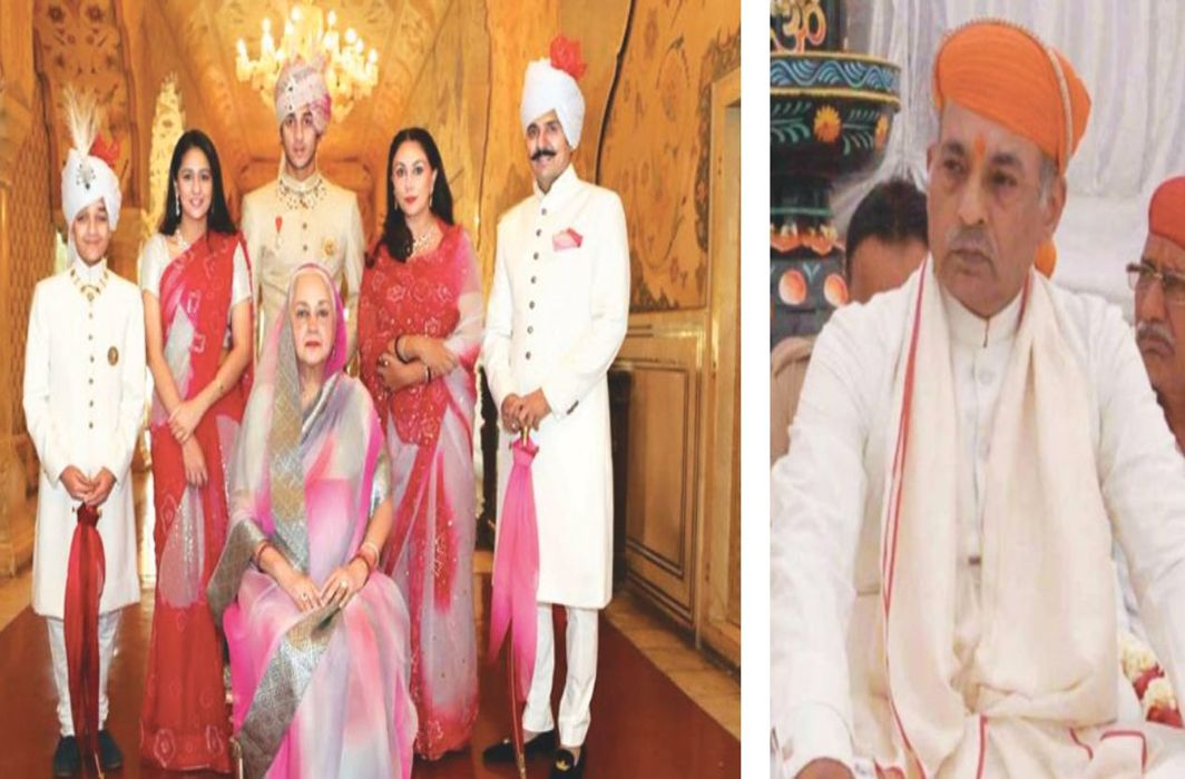 Princess Diya Kumari (second from right) of the Jaipur royal family/Photo: facebook; (above) Mahendra Singh of the Mewar-Udaipur royal family. Both have claimed to be descendants of Lord Ram