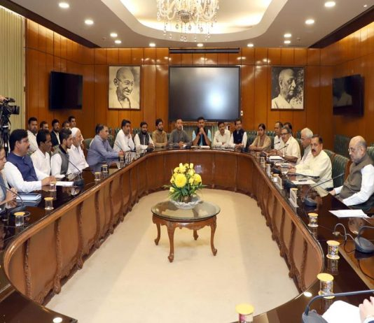 Home Minister Amit Shah at a meet with representatives from the Valley, in New Delhi/Photo: UNI