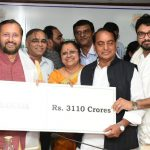Environment Minister Prakash Javadekar (extreme left) releasing funds for afforestation to various states in New Delhi/Photo: UNI