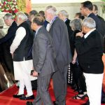 """FOR POSTERITY: Prime Minister Narendra Modi and nine Nobel laureates at Science City. Their handprints will be installed on """"Nobel Path"""" at the Nobel Prize Exhibition"""