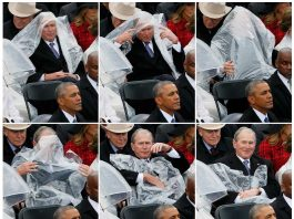 Rain-rain go away- This sequence of pictures shows former U.S. President George W. Bush using a plastic sheet to deal with the rain near outgoing President Barack Obama (L) during the inauguration ceremonies swearing in Donald Trump as the 45th president of the United States on the West front of the U.S. Capitol in Washington, U.S., January 20, 2017. REUTERS-17R