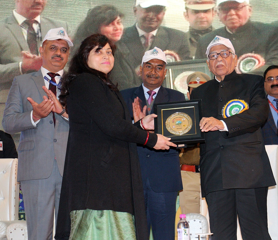 APPRECIATION: Uttar Pradesh governor Ram Naik presents awards on the occasion of Oil Conservation Mahatsov 'Saksham' in Lucknow on January 16, UNI