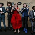 ACCOMPLISHMENT: The cast of Stranger Things poses with the awards they won for Outstanding Performance by an Ensemble in a Drama Series at the 23rd Screen Actors Guild Awards in Los Angeles, California, US, Reuters/UNI