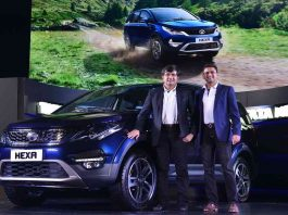 The new machine on the block- Mayank Pareek, President - Passenger Vehicles Business Unit, Tata Motors and Vivek Srivatsa, Head - Passenger Vehicles Business Unit, Tata Motors, launching 'Tata Hexa' car in New Delhi on Wednesday night. UNI PHOTO