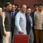 Arun Jaitley ahead of the annual budget presentation in parliament last year