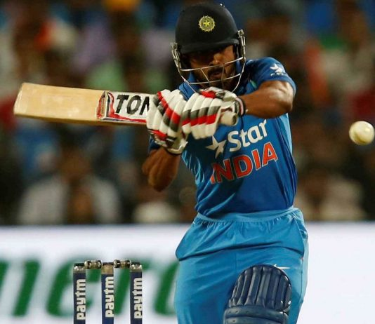 WHAT A KNOCK! Kedar Jadhav plays a shot during the India v/s England First One Day International match, Pune, Reuters/UNI