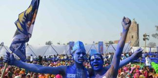 JAI BHIM: BSP supporters during an election rally of party supremo Mayawati in Moradabad on February 10, UNI
