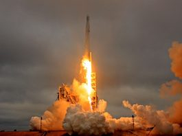 ORANGE GLORY: A SpaceX Falcon 9 rocket lifts off on a supply mission to the International Space Station from the historic launchpad 39A at the Kennedy Space Center in Cape Canaveral, Florida, Reuters/UNI
