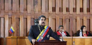 AT THE HELM: Venezuelan president Nicolas Maduro speaks during a ceremony to mark the opening of the judicial year at the Supreme Court of Justice in Caracas on February 7, Reuters/UNI