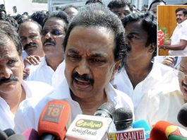 MK Stalin speaks to media-persons after being forcibly evicted from the Tamil Nadu Legislative Assembly on February 20, (inset) the new CM, E Palaniswami