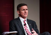 Flynn (above) resigned as the US national security adviser after reports that he misled Vice-President Pence over discussions with the Russian ambassador