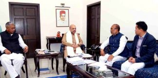 OF NEW FRIENDSHIPS: BJP national president Amit Shah meets chief minister of Manipur N Biren Singh at his residence in New Delhi, UNI