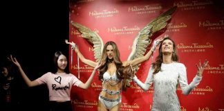 ANGELS AND DEMONS: Model and actor Alessandra Ambrosio attends a media event for the unveiling of her wax figure, at the Madame Tussauds Wax Museum in Shanghai, China, Reuters/UNI