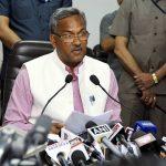 Uttrakhand Chief Minister Trivendra Singh Rawat addressing a press conference in Dehradun. Photo: UNI
