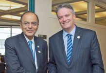 IDEAS EXCHANGE: Union Minister for Finance, Corporate Affairs and Defence Arun Jaitley meets the finance minister of Australia, Mathias Cormann, in Washington DC, UNI