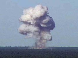 The GBU-43/B, also known as the Massive Ordnance Air Blast, detonates during a test at Elgin Air Force Base, Florida, US, on November 21, 2003, in this handout photo provided on April 13, 2017, Reuters/UNI