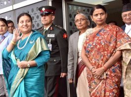 NEIGHBORLY CONDUCT: Nepal President Bidya Devi Bhandari is received by Minister of State for Women and Child Development Krishna Raj, on her arrival in New Delhi, UNI