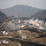 NO MAN'S LAND: Explosions are seen at a target, during a US-South Korea joint live-fire military exercise, at a training field, near the demilitarized zone, separating the two Koreas in Pocheon, South Korea, Reuters/UNI