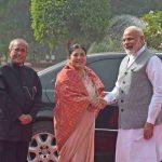 HEADS OF STATE: Bidya Devi Bhandari, President of Nepal, meets President Pranab Mukherjee and Prime Minister Narendra Modi at Rashtrapati Bhavan in New Delhi