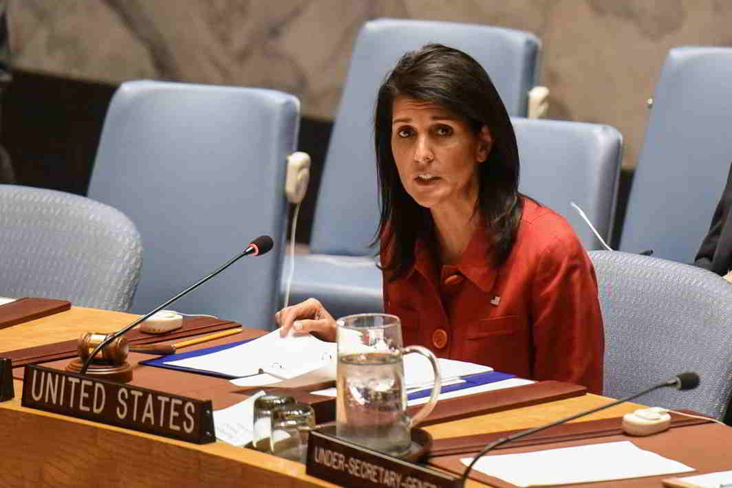 TALKING POLICY: United States Ambassador to the United Nations Nikki Haley delivers remarks at the Security Council meeting on the situation in Syria at the UN Headquarters, in New York, Reuters/UNI