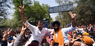 VICTOR: Manjinder Singh Sirsa of the BJP-Akali alliance celebrates his win in the Rajouri Garden bypolls