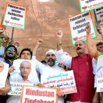 MERE PROTESTATIONS? Members of the BJP's minorities wing protest at Azad Maidan in Jadhav's hometown Mumbai demanding his release, UNI