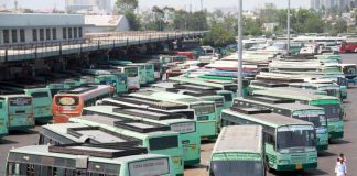 NOWHERE TO GO: Tamil Nadu State Transport Corporation buses remain parked at Koyambedu mofussil bus terminus following strike called by the trade unions to press their charter of demands, in Chennai, UNI