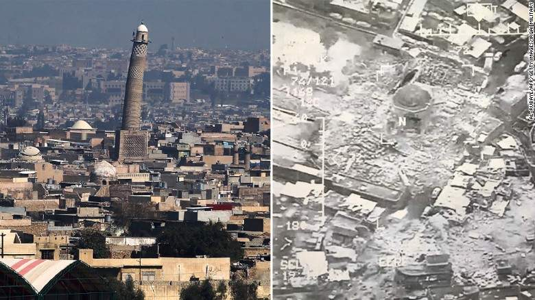 Historical Grand Mosque destroyed in Mosul