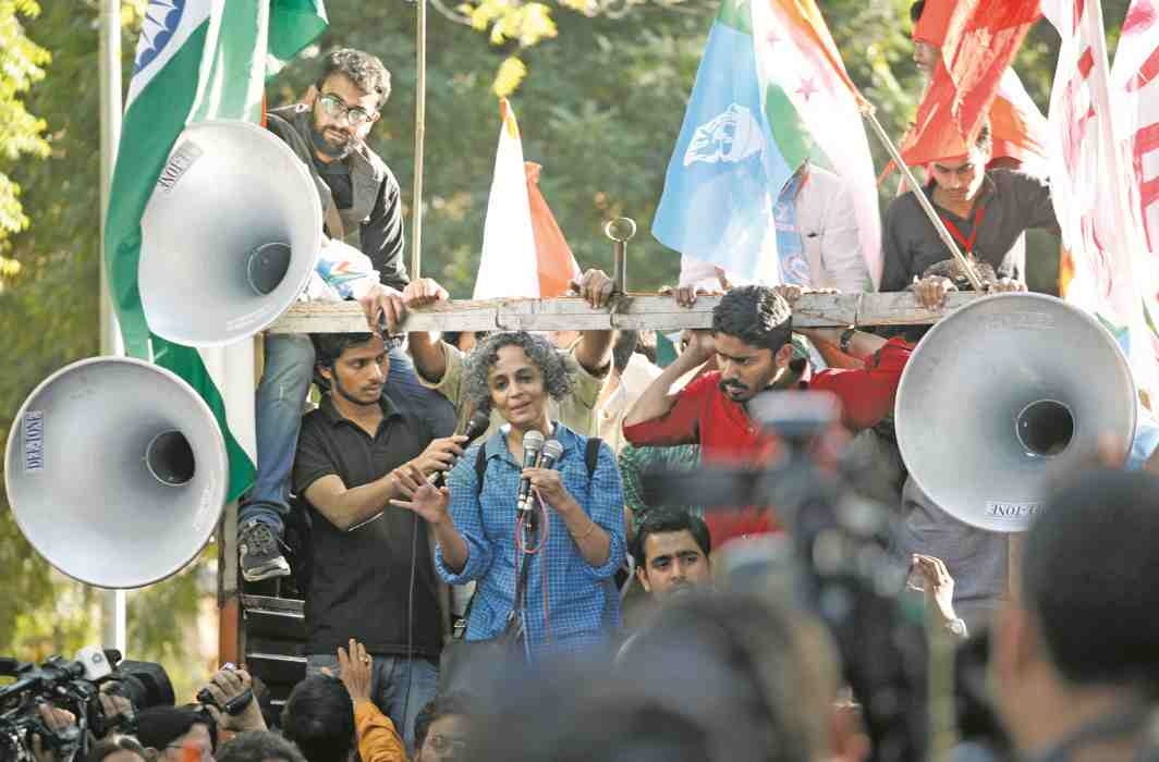Arundhati Roy participates in a rally supporting Kanhaiya Kumar in 2016. Photo: Anil Shakya
