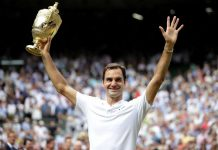 G.O.A.T: Roger Federer poses with the trophy after winning his eighth men's singles title and 19th Grand Slam, becoming the oldest male player to do so and the only person since Bjorn Borg to win the championship without dropping a set. He now has the highest number of Wimbledon titles as well as Grand Slams in men's tennis. He beat Croatia's Marin Cilic in straight sets with a 6-3, 6-1, 6-4 scoreline -Photo courtesy: Reuters/UNI