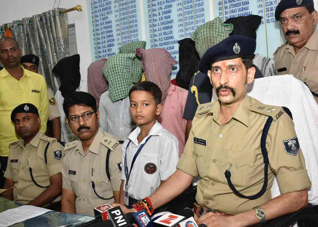 DID MY JOB: Patna SSP Manu Maharaj addresses a press conference after the arrest of a gangster and kidnappers in a raid, in Patna, UNI