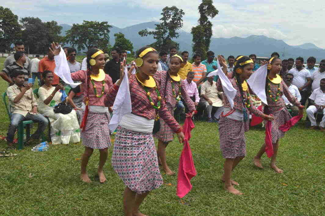 ROOTS AND WINGS: Nepali girls celebrate Bhanu Jayanthi at Tihana tea gardens near Siliguri, UNI